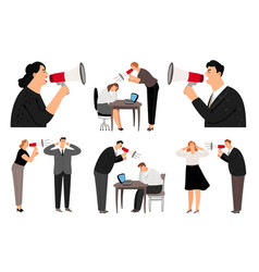 bullhorn screaming business people vector image