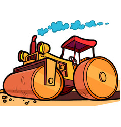 cartoon asphalt roller vector image
