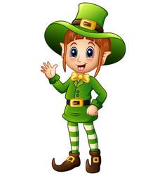 cartoon girl leprechaun waving hand vector image
