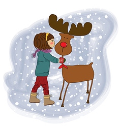 Christmas card with cute little girl caress vector