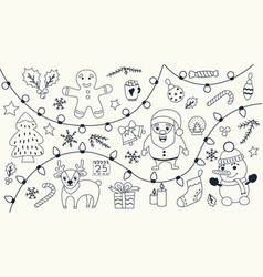 christmas set hand drawn doodles vector image