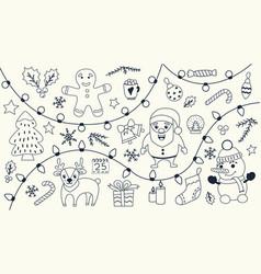 christmas set hand drawn doodles vector image