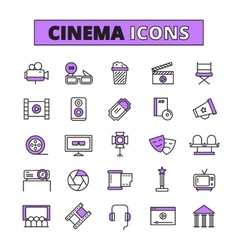 Cinema symbols outlined icons set vector