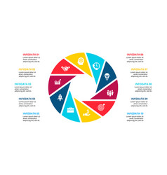 Cirle infographic with 10 options or steps vector
