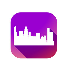 city flat icon with long shadow on gradient vector image
