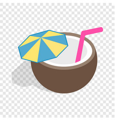 coconut cocktail isometric icon vector image