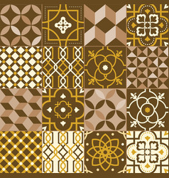 collection square tiles decorated with various vector image