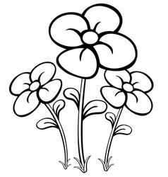 Colorful cartoon flowers for coloring book vector