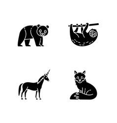 Common and fantasy animals black glyph icons set vector