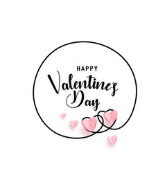 continuous line heart round shape frame vector image