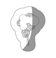 Contour sticker stylized tree icon vector