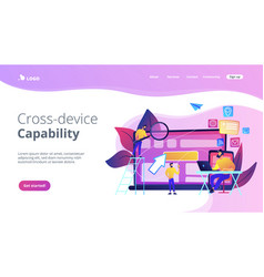 Cross-device tracking concept landing page vector