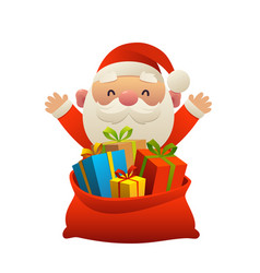 cute santa claus behind toy bag with gifts vector image