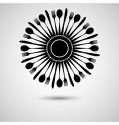 Cutlery in circle vector image