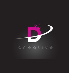 D creative letters design with white pink colors vector