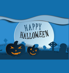 design withpumpkin on cemetery happy halloween vector image