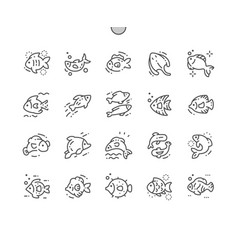 different fish well-crafted pixel perfect vector image