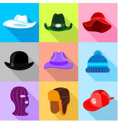 Different hat icons set flat style vector