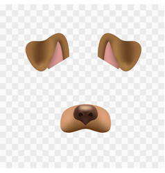 Dog face mask for video chat isolated on checkered vector