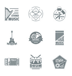 Drum music logo set simple style vector