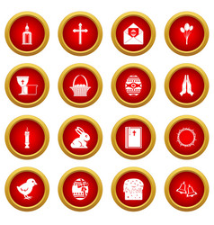 Easter items icon red circle set vector