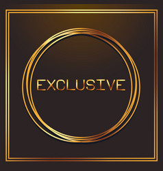Exclusive gold fonts in round frame vector