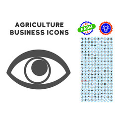 Eye icon with agriculture set vector