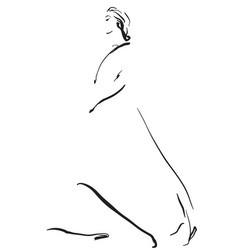 Fashion models sketch girl in dress vector