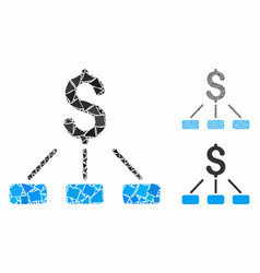 financial hierarchy mosaic icon raggy elements vector image