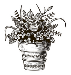 Flowers in a pot sketch isolated vector
