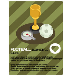 Football color isometric poster vector