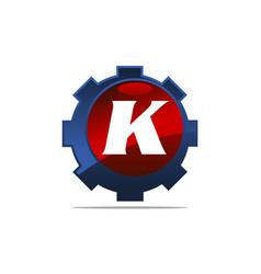 Gear logo letter k vector