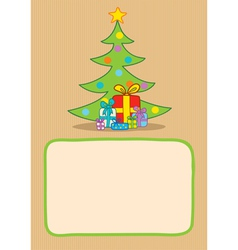 Gifts and christmas tree vector