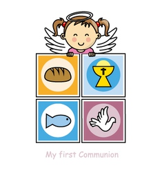 Girl First Communion card vector image