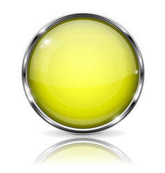 Glass yellow button round 3d button with metal vector