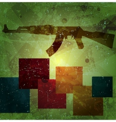 Grunge AK 47 on wall vector