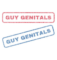Guy genitals textile stamps vector