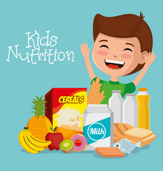 Happy boy with nutrition food vector