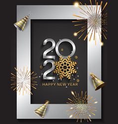Happy new year 2020 silver color with snowflake vector
