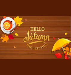 Hello autumn banner on wooden background vector