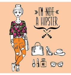 Hipster girl Fashion geek character vector image