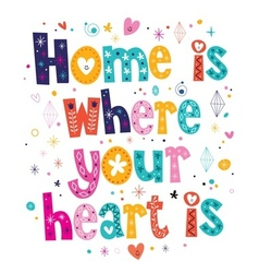 Home is where your heart is quote typographic vector