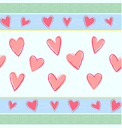 horizontal seamless pattern with hand drawn hearts vector image