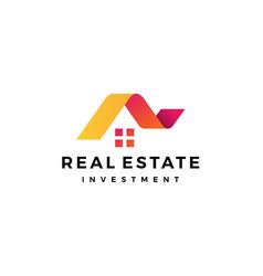 House home romortgage real estate ribbon logo vector