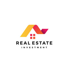 House home roof mortgage real estate ribbon logo vector