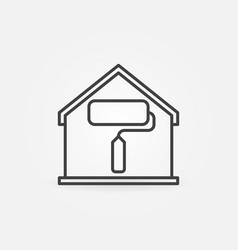 house with paint roller inside linear icon vector image