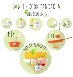 How to cook pancakes recipe flat style with long vector