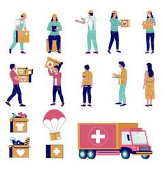 humanitarian aid characters flat isolated vector image
