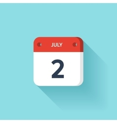 July 2 Isometric Calendar Icon With Shadow vector