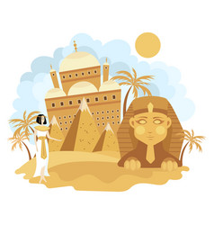 Landscape cairo cartoon sights vector